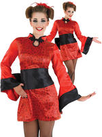 Ladies Geisha Girl Costume Adults Japanese Fancy Dress Women Oriental Outfit