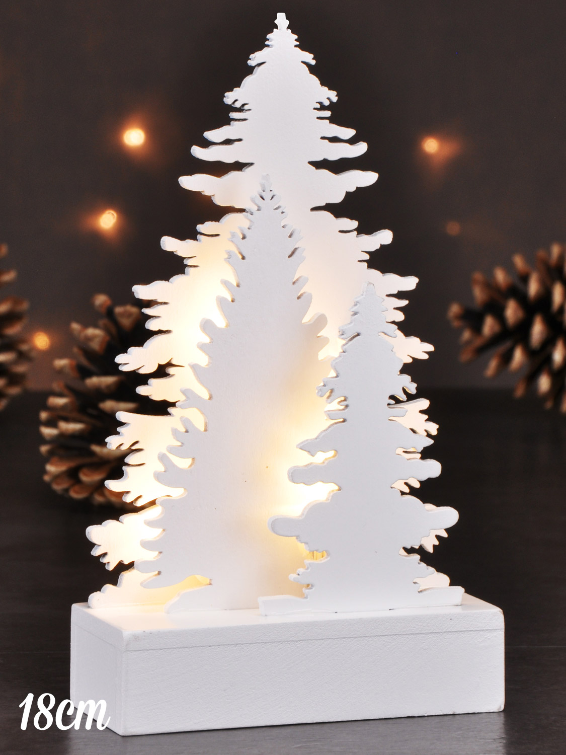 Wooden White Light Up Decorations Christmas LED Ornament Xmas ...