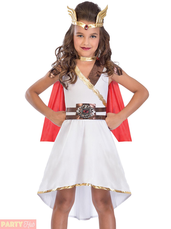 ae79e246e2bb Girls Goddess Princess Costume Grecian Roman Fancy Dress Kids Greek ...