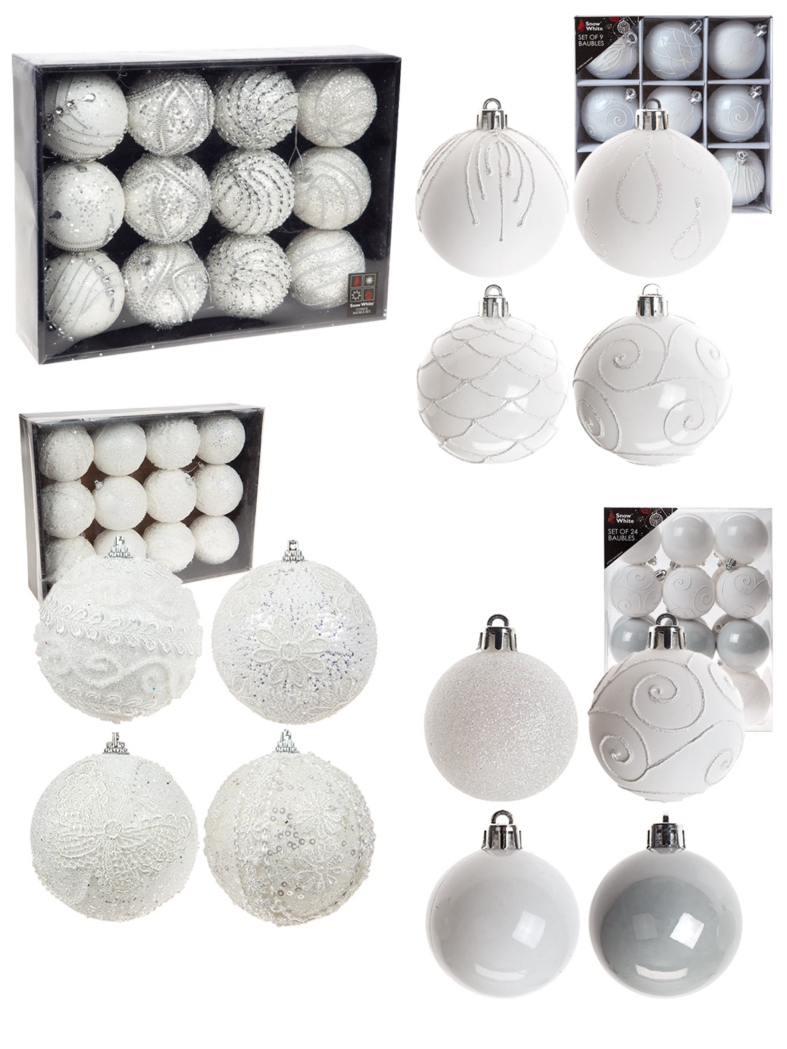 Crochet Christmas Tree.Details About Deluxe White Crochet Christmas Tree Baubles Luxury Grey Xmas Decoration