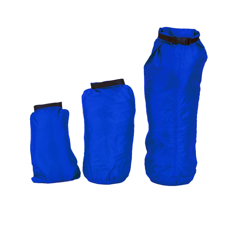 410c8a07bf91 Set of 3 x Dry Bags Blue Waterproof Sacks 2 4 8 Litres Kayaking ...