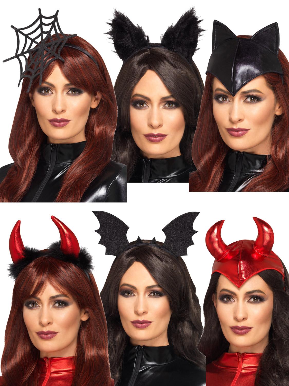 ladies fever halloween headband adult bat cat spider devil fancy