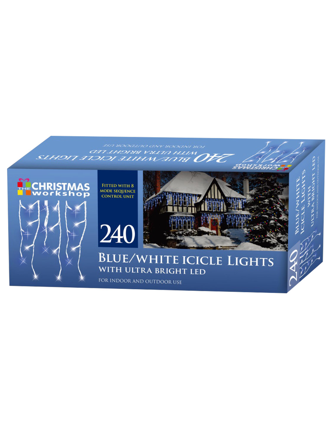 LED-Icicle-Snowing-Chaser-Lights-Outdoor-Bright-White-Blue-Christmas-Decoration miniatura 3