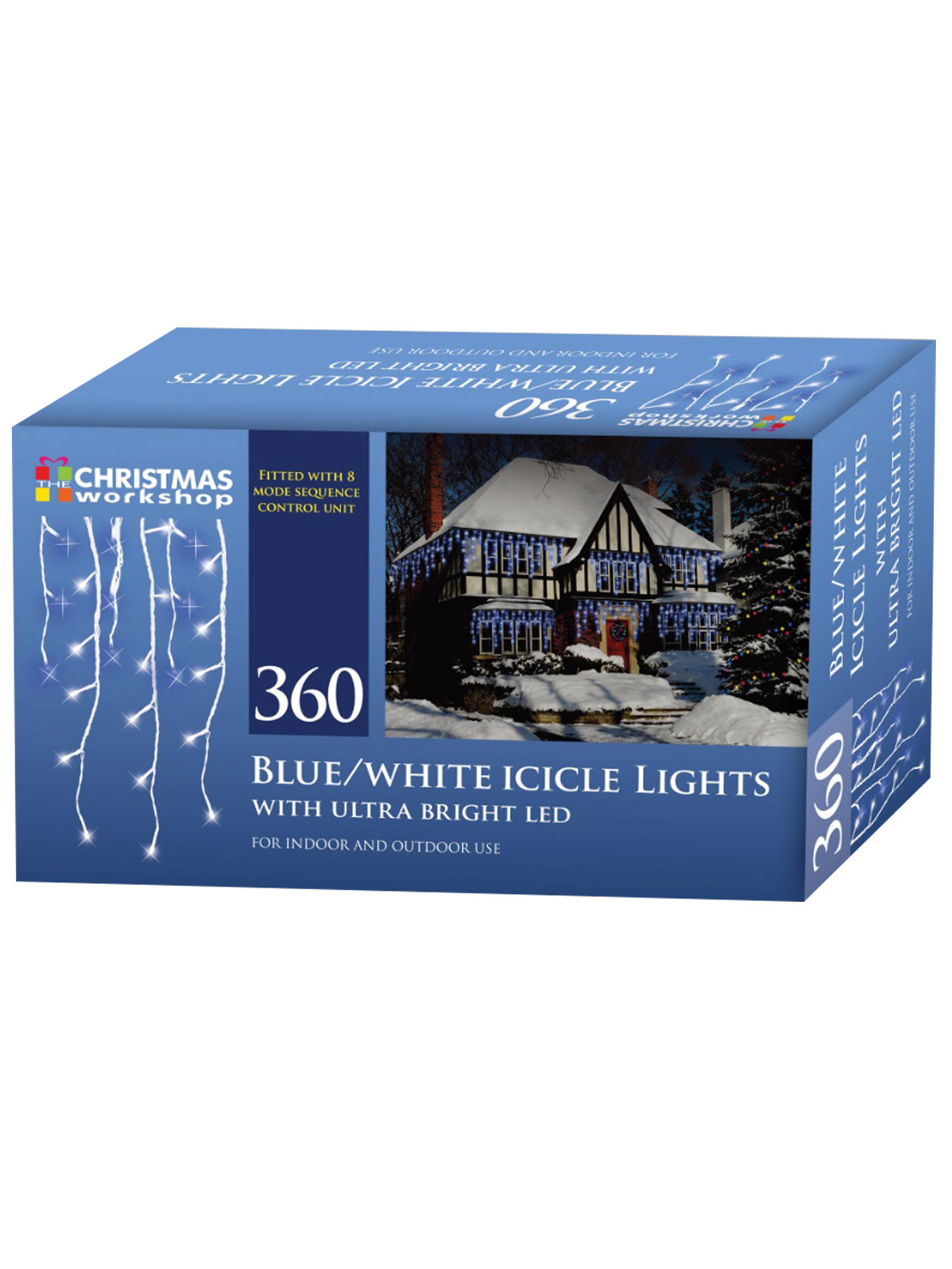 LED-Icicle-Snowing-Chaser-Lights-Outdoor-Bright-White-Blue-Christmas-Decoration miniatura 4