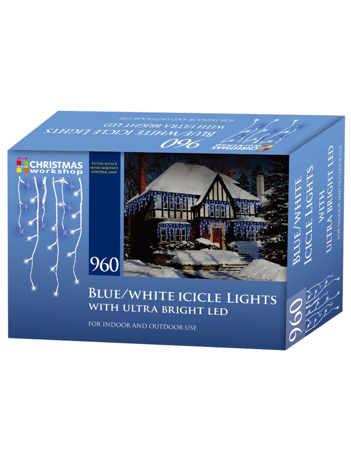 LED-Icicle-Snowing-Chaser-Lights-Outdoor-Bright-White-Blue-Christmas-Decoration miniatura 5