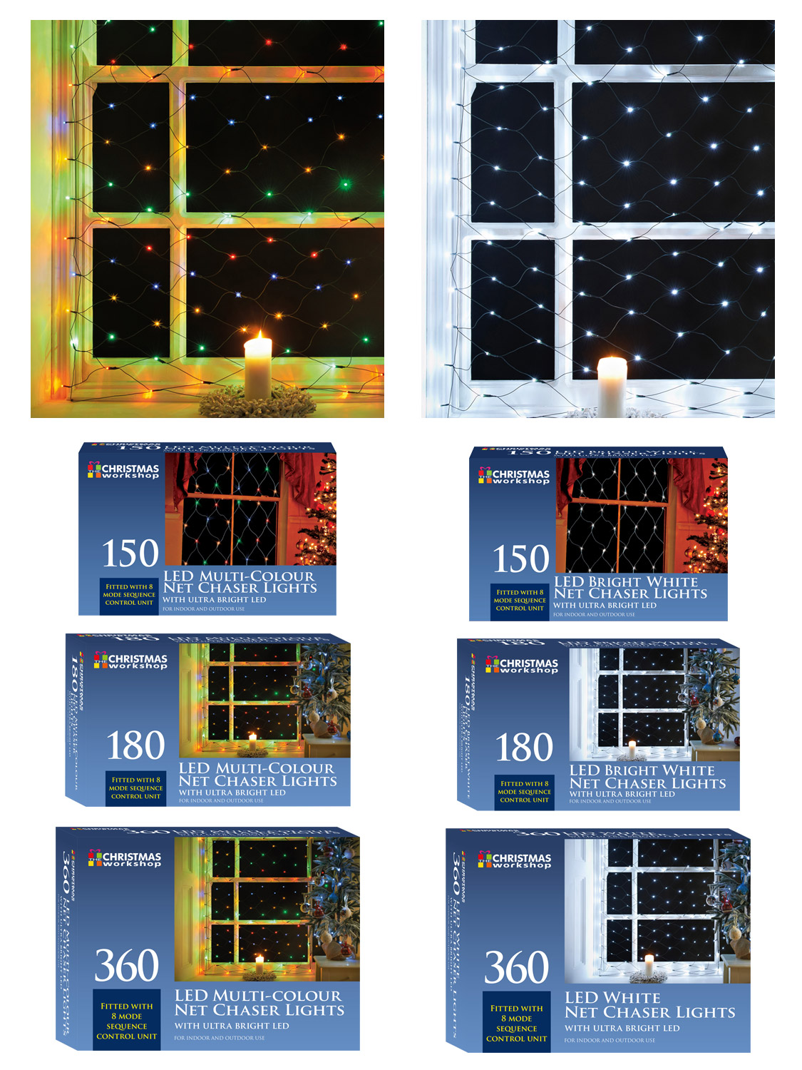 OUTDOOR 150 NET CHASER MODE BRIGHT LIGHT BULB CHRISTMAS WINDOW XMAS FOR INDOOR