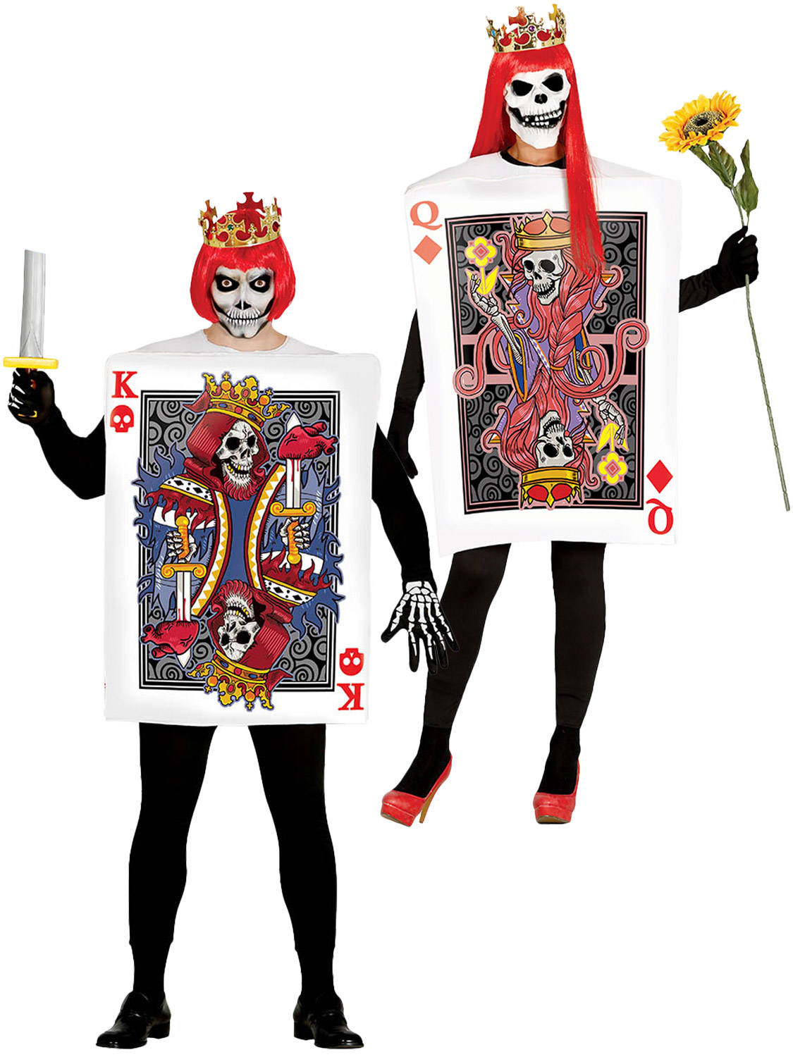 skull king queen playing card costume mens ladies couples