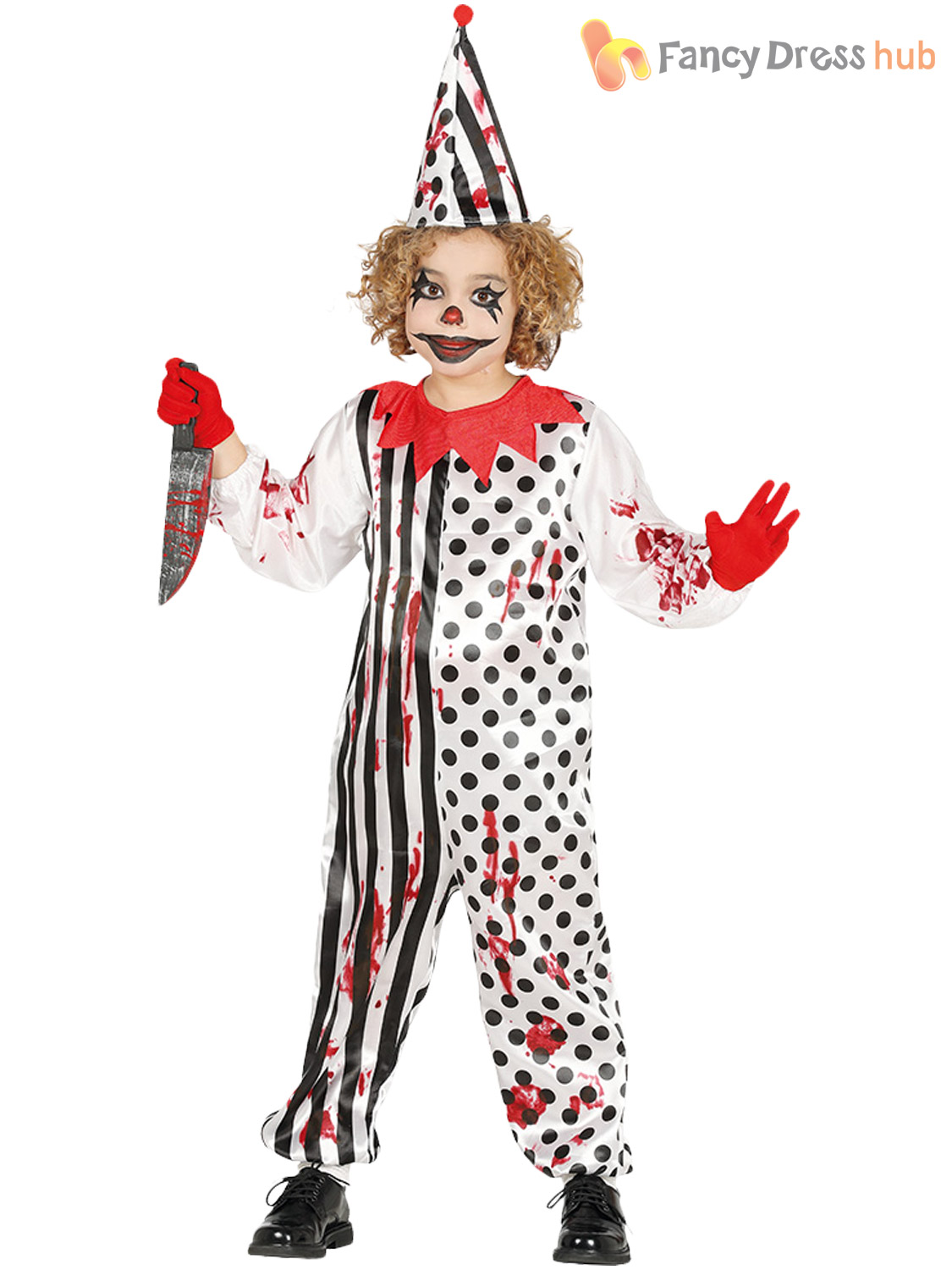 Details about Boys Zombie Clown Costume Child Circus Halloween Fancy Dress  Kids Horror Outfit
