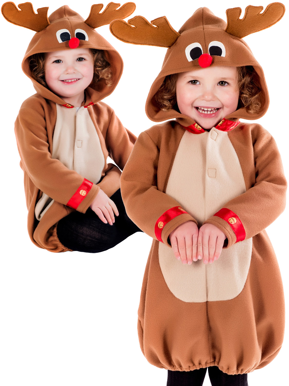 bcf3a5aa5 Details about Girls Toddler Reindeer Costume Childs Christmas Fancy Dress  Kids Xmas Rudolph
