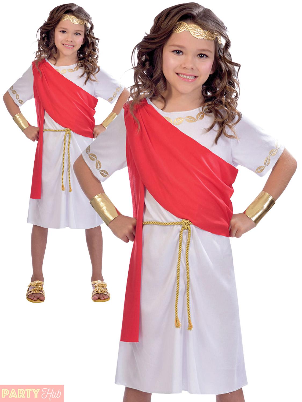 Medium White /& Red Girls Goddess Costume Dress Fancy Roman Greek Kids Toga