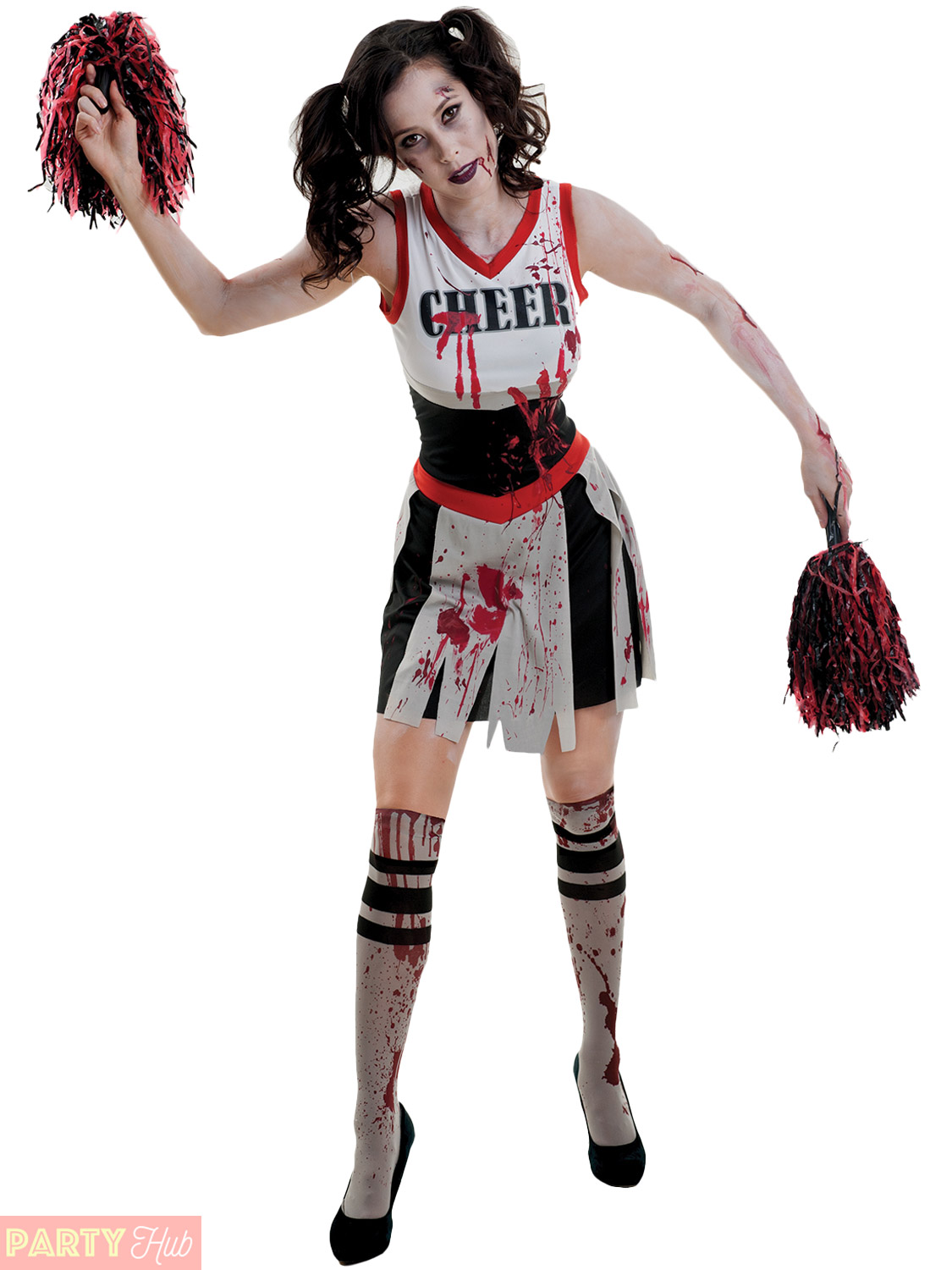 Details about Ladies Zombie Cheerleader Costume Adults Halloween Fancy  Dress Womens Outfit