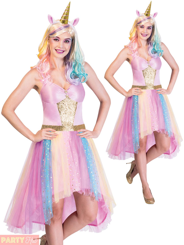 94e190e92e6d Ladies Mystic Unicorn Costume Adults Magical Fantasy Fancy Dress ...