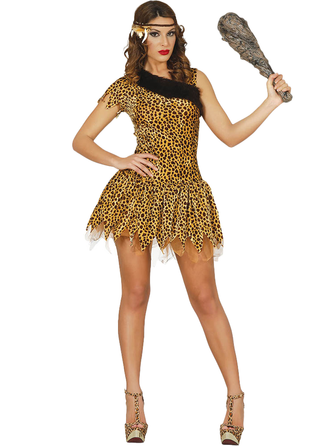 Ladies Cave Girl Leopard Print Cavewoman Fancy Dress Costume Outfit New Womens