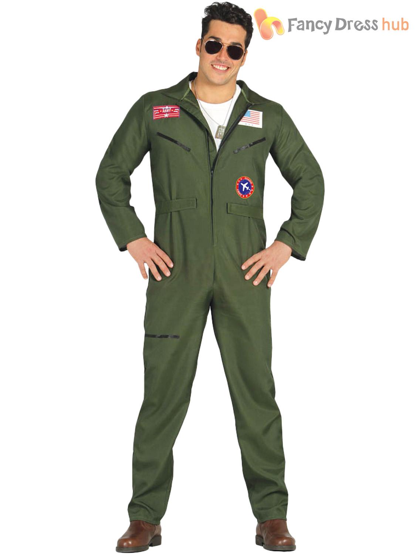 5d16e8e66e Mens Fighter Pilot Costume Adults 1980s Uniform Jumpsuit Fancy Dress ...