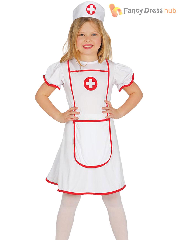 6f57988ab35 Details about Girls Nurse Costume Childs Hospital Medical Uniform Fancy  Dress Kids Book Day