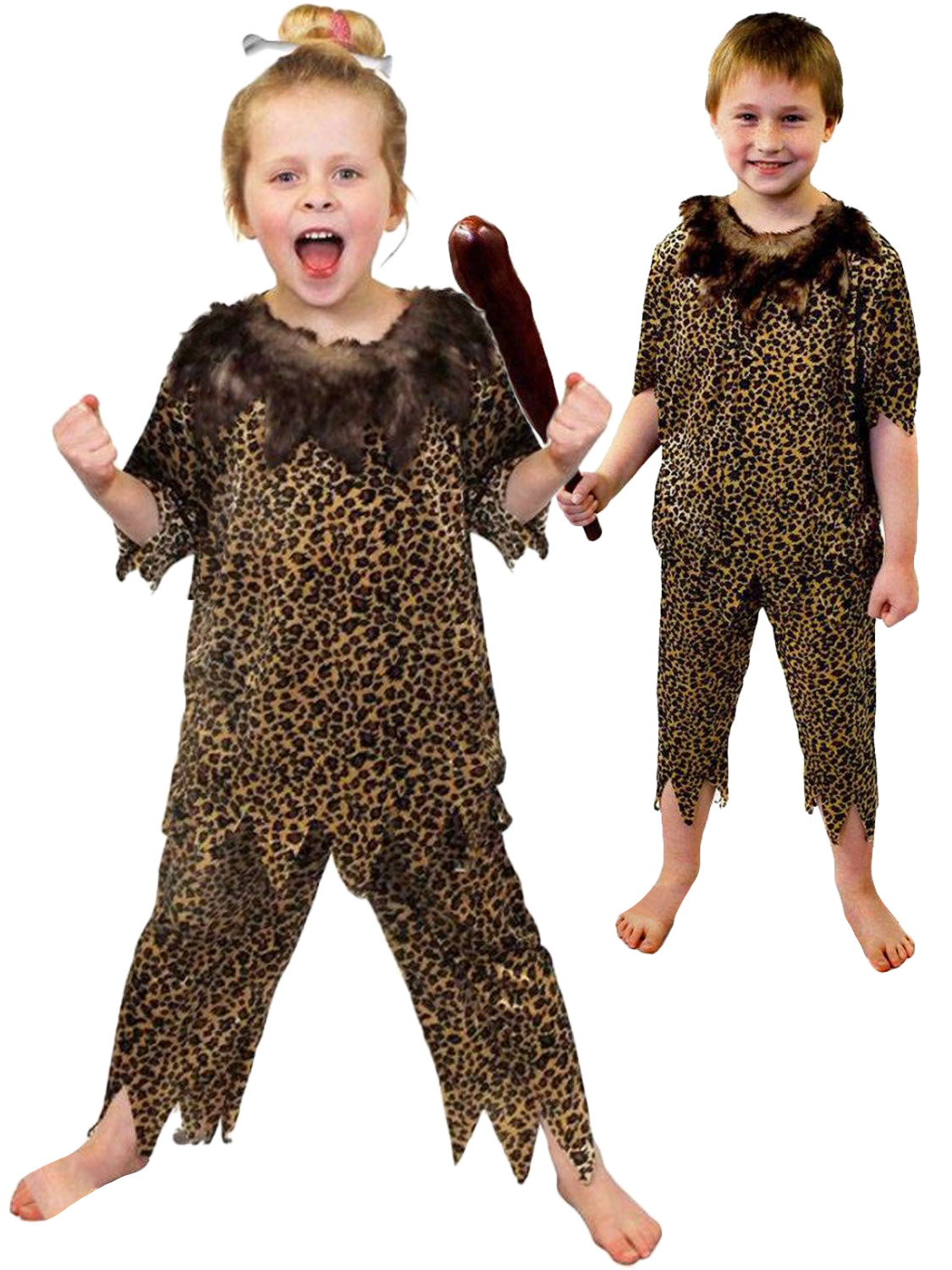 Childs Caveman Costume Boys Girls Cave Girl Boy Fancy -5486