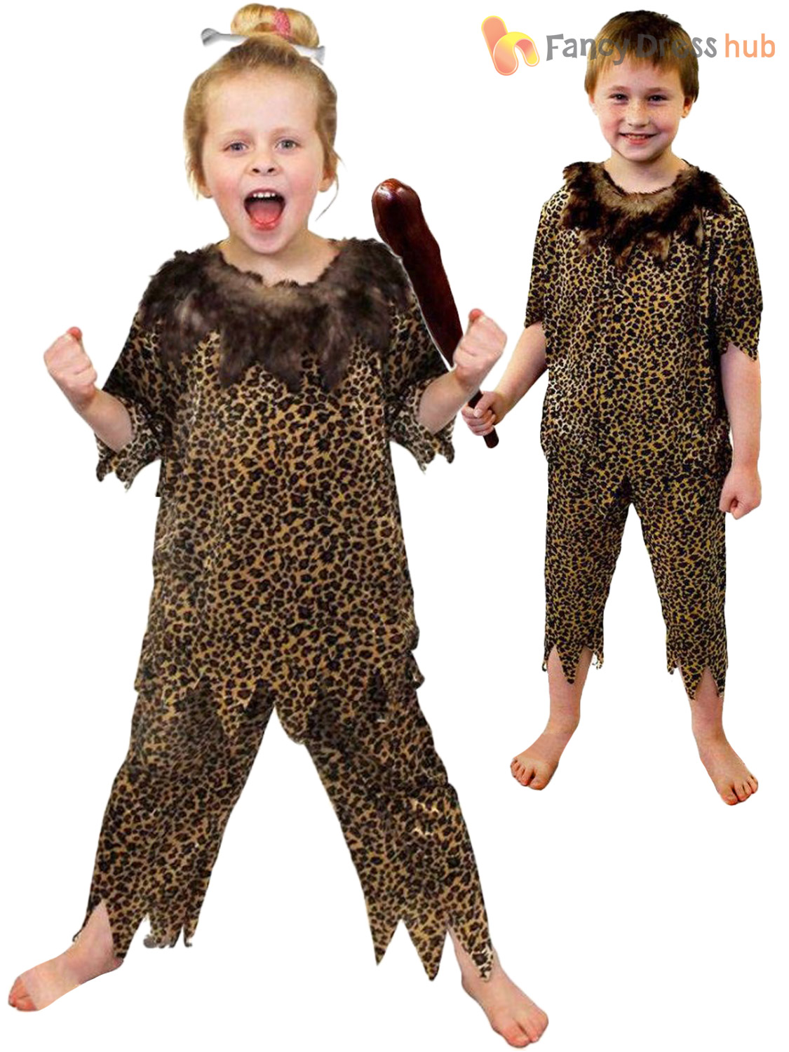 Childs Caveman Costume Boys Girls Cave Girl Boy Fancy -9696
