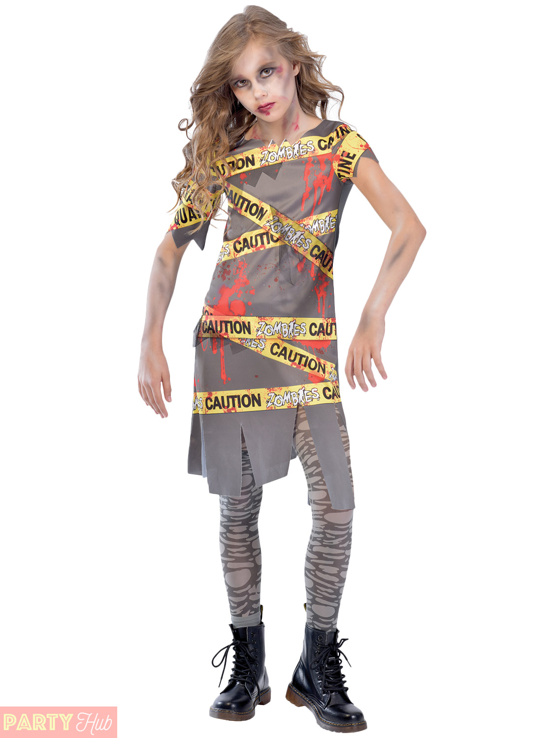 Halloween Zombie Costumes For Girls.Details About Girls Caution Zombie Costume Childs Halloween Fancy Dress Horror Kids Outfit