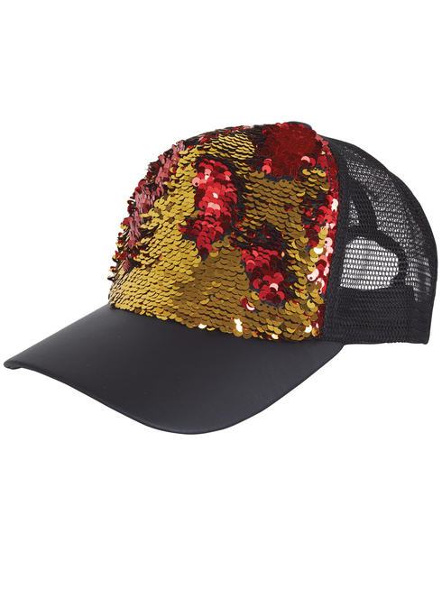 Adult's Reversible Sequin Cap - Gold & Red