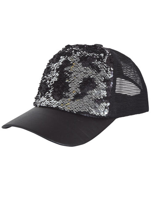 Adult's Reversible Sequin Cap - Black & Silver