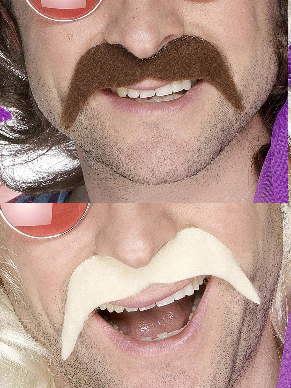 70s 1970s 70/'s Fancy Dress Tash Stick on Moustache Brown New by Smiffys