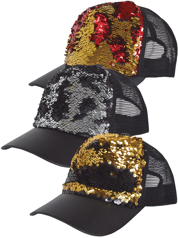 28047e1928ee85 Details about Adult Reversible Sequin Cap Hat Mens Ladies Retro Gangster  Fancy Dress Accessory