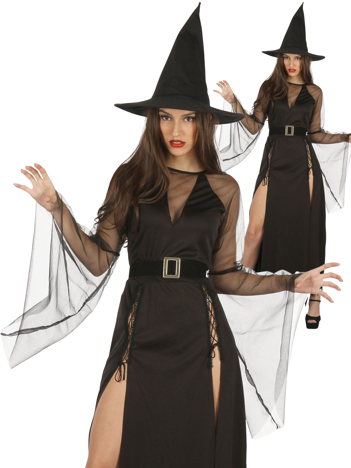 bf51e97f57e Details about Ladies Sexy Witch Costume Adults Halloween Sorceress Wicked  Fancy Dress Outfit