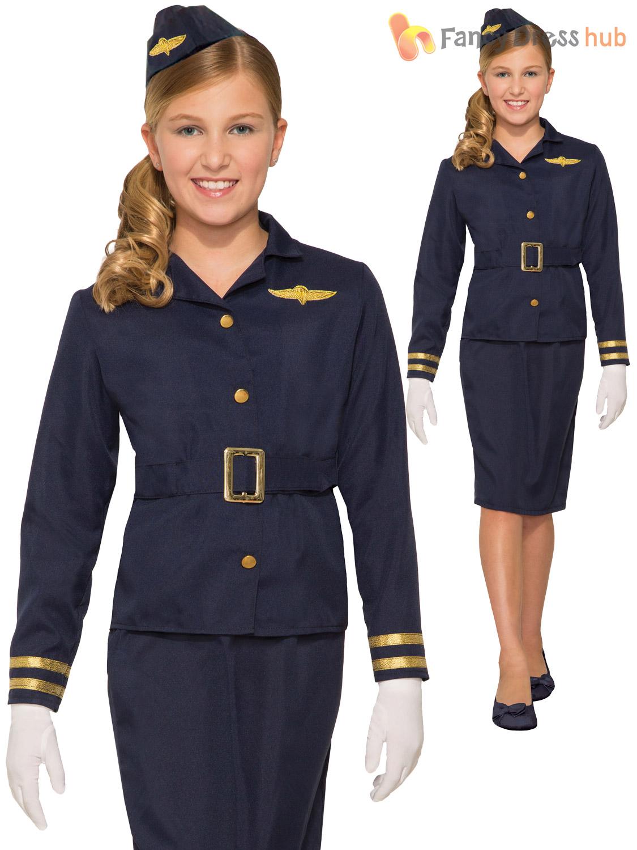 Ladies Pilot Air Hostess Flight Attendant Fancy Dress Costume Outfit Hat