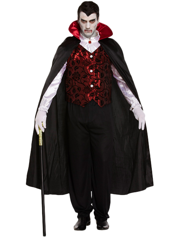 Mens Deluxe Vampire Costume Adults Dracula Halloween Fancy