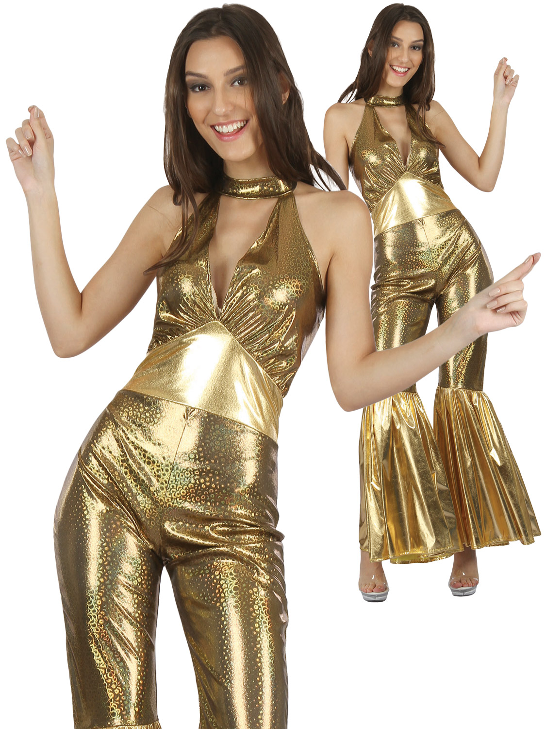 a369bf4078 Ladies Gold Jumpsuit Adults 80s Disco Diva Fancy Dress Womens Retro 1980s  Outfit. Image 2