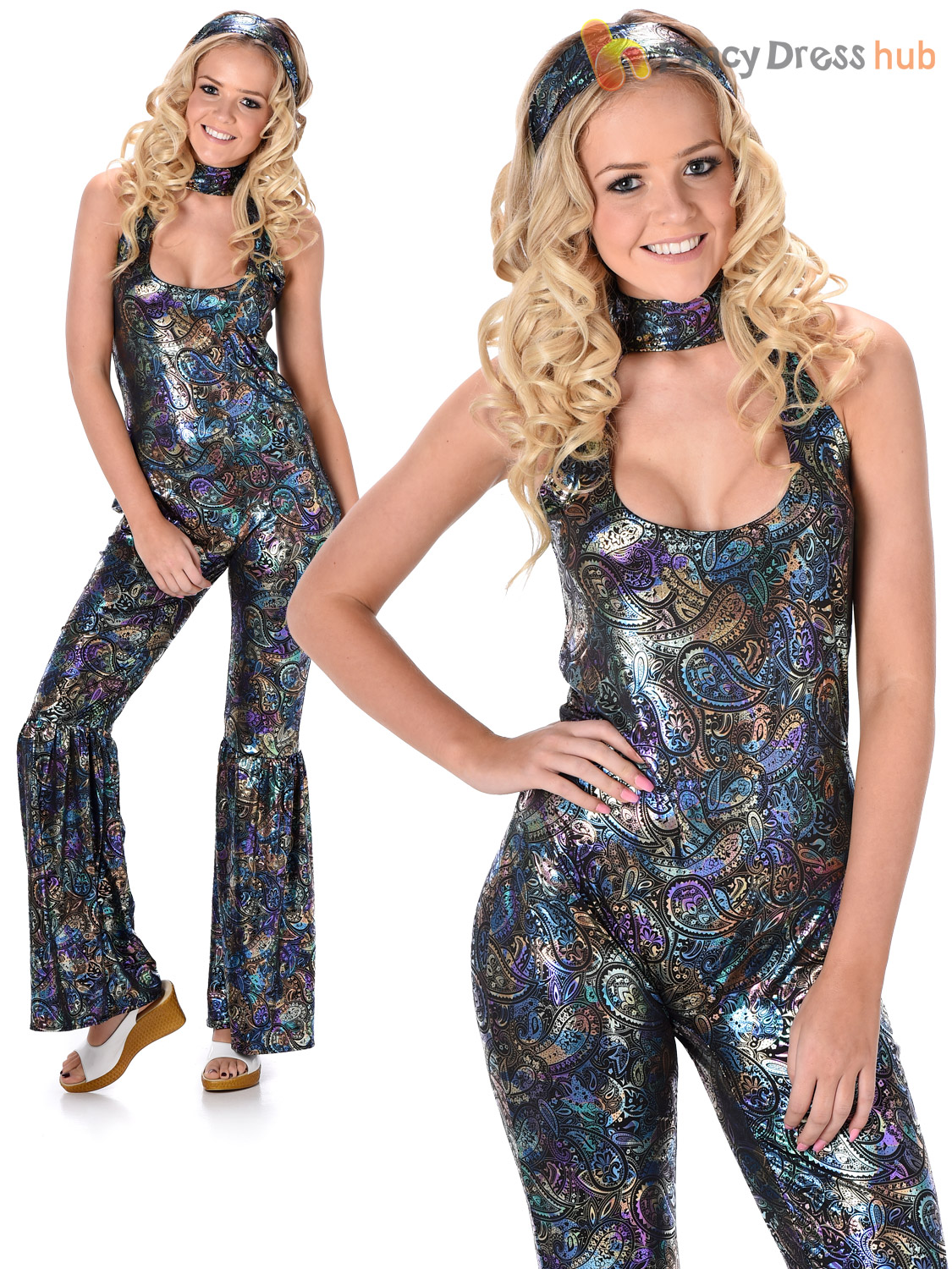 Ladies 1970s Disco Queen Jumpsuit Flares Fancy Dress Adult Costume Womens Outfit
