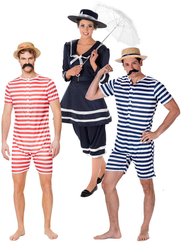 MENS 1920/'S BATHER COSTUME VICTORIAN BATHING SUIT FANCY DRESS COSTUME SWIMSUIT