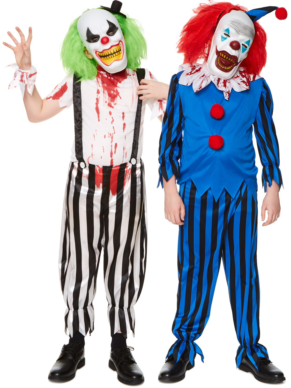 Boys Evil Scary Clown Costume Childs Halloween Circus Fancy Dress Kids Outfit - eBay