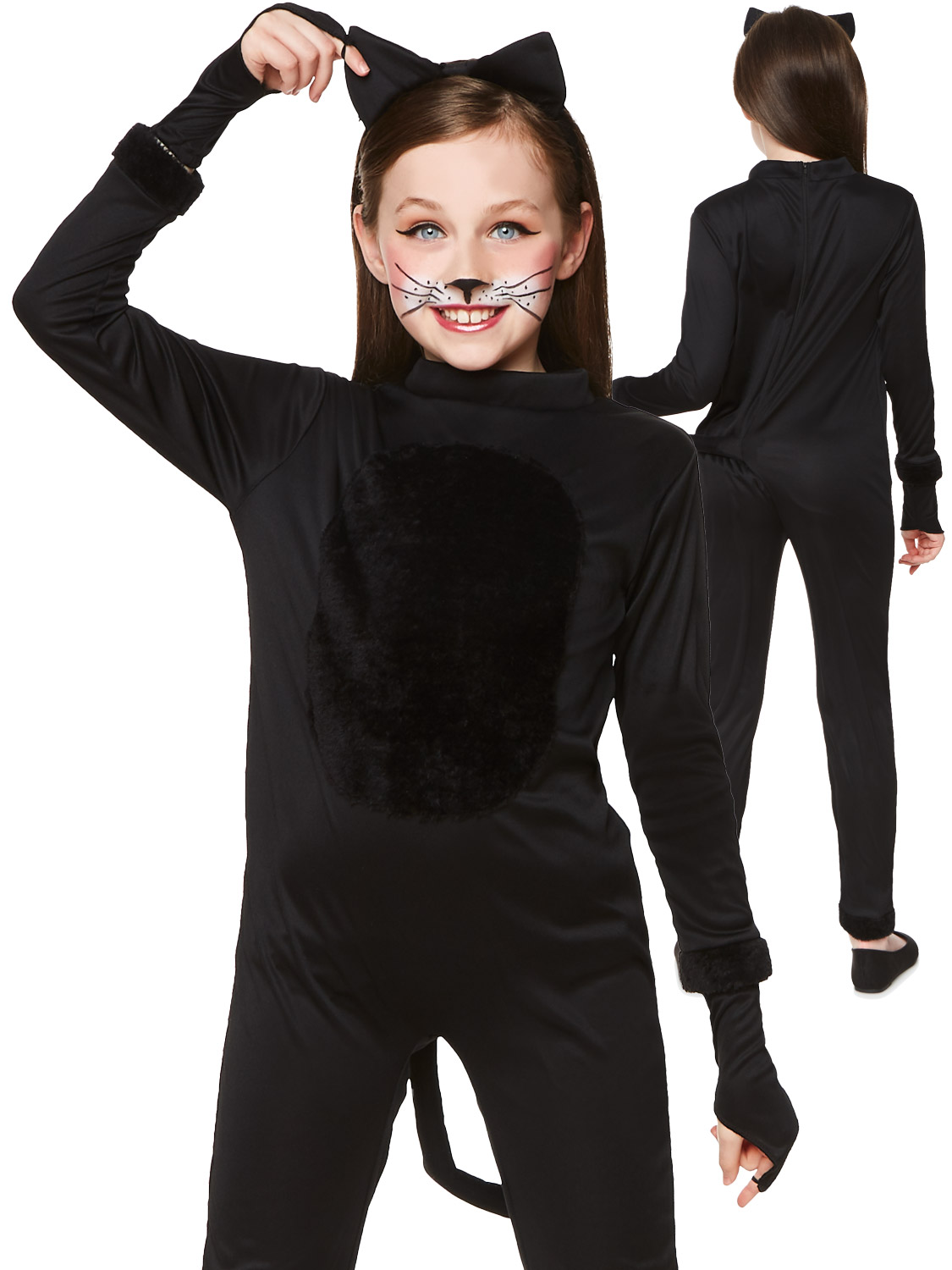 Details About Girls Black Cat Costume Childs Halloween Animal Fancy Dress Traditional Outfit