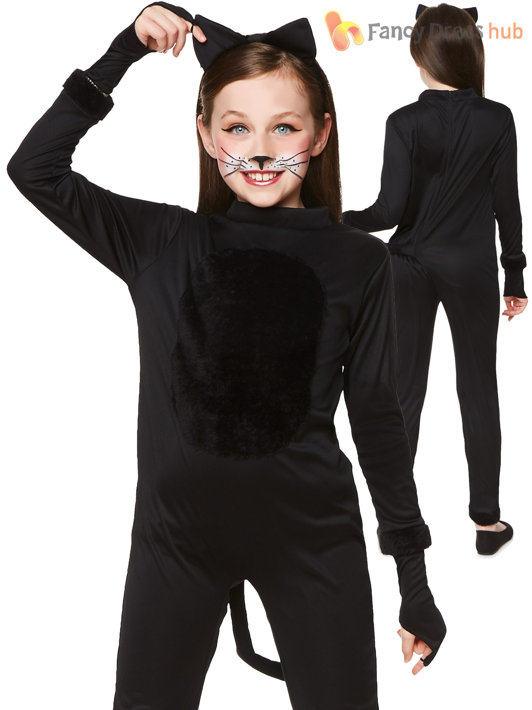 girls black cat costume childs halloween animal fancy dress