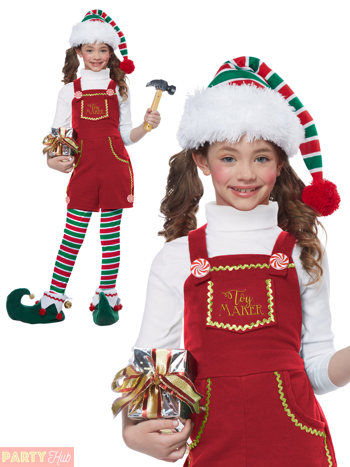 Childs Kids Elf Girl Xmas Christmas Fancy Dress Costume Outfit Age 4-11