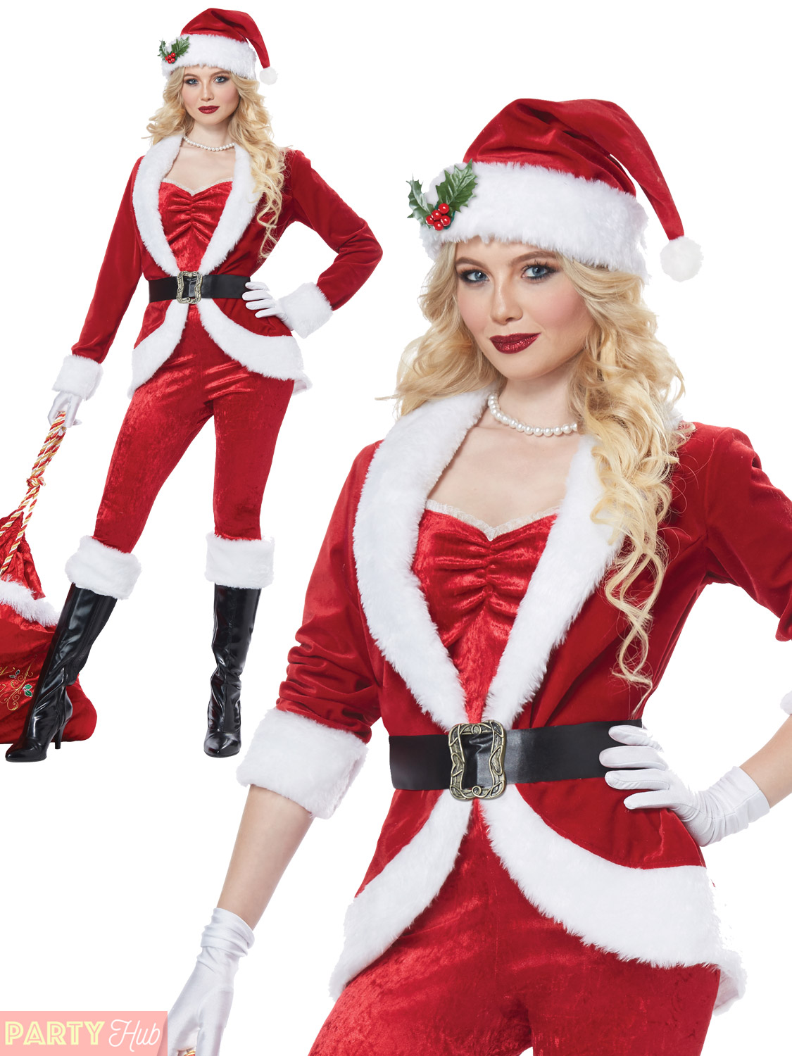 Christmas Fancy Dress.Details About Ladies Sassy Santa Costume Miss Mrs Claus Christmas Fancy Dress Xmas Outfit