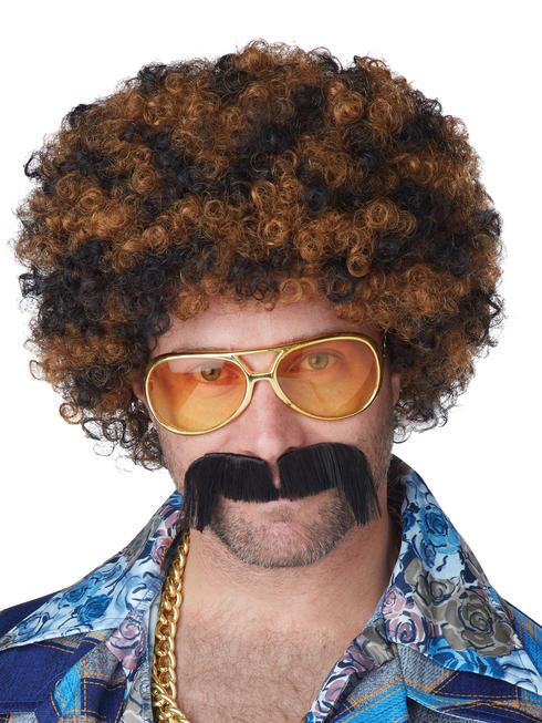 Men's Disco Dirt Bag Wig & Moustache