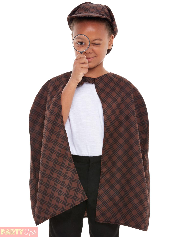 Kids-Victorian-Detective-Costume-Sherlock-Holmes-Fancy-Dress-Costume-Boys-Girls thumbnail 3