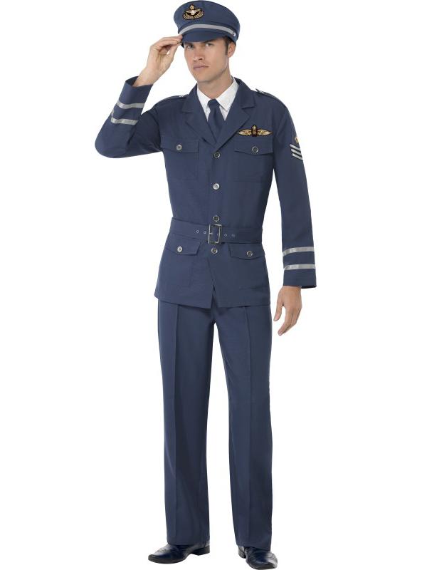 Mens Ladies Ww2 Airforce Captain Fancy Dress War 1940s