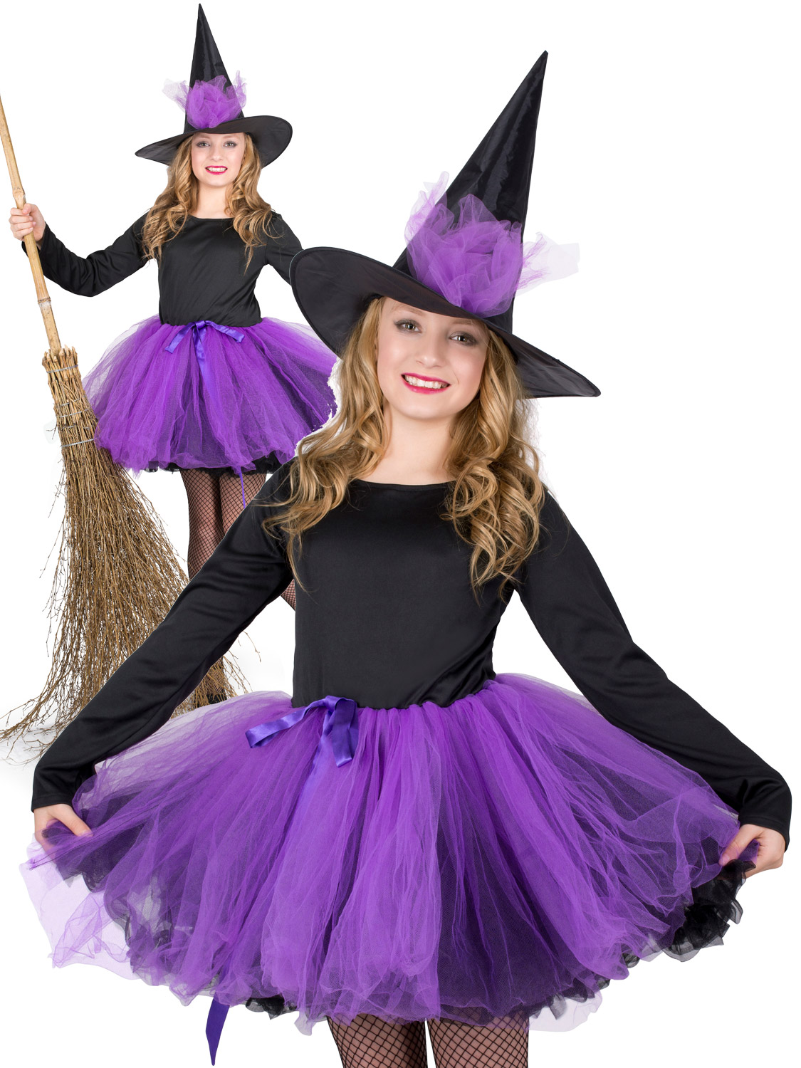 Girls Black Witch Full Length Costume Traditional Child Halloween Fancy Dress