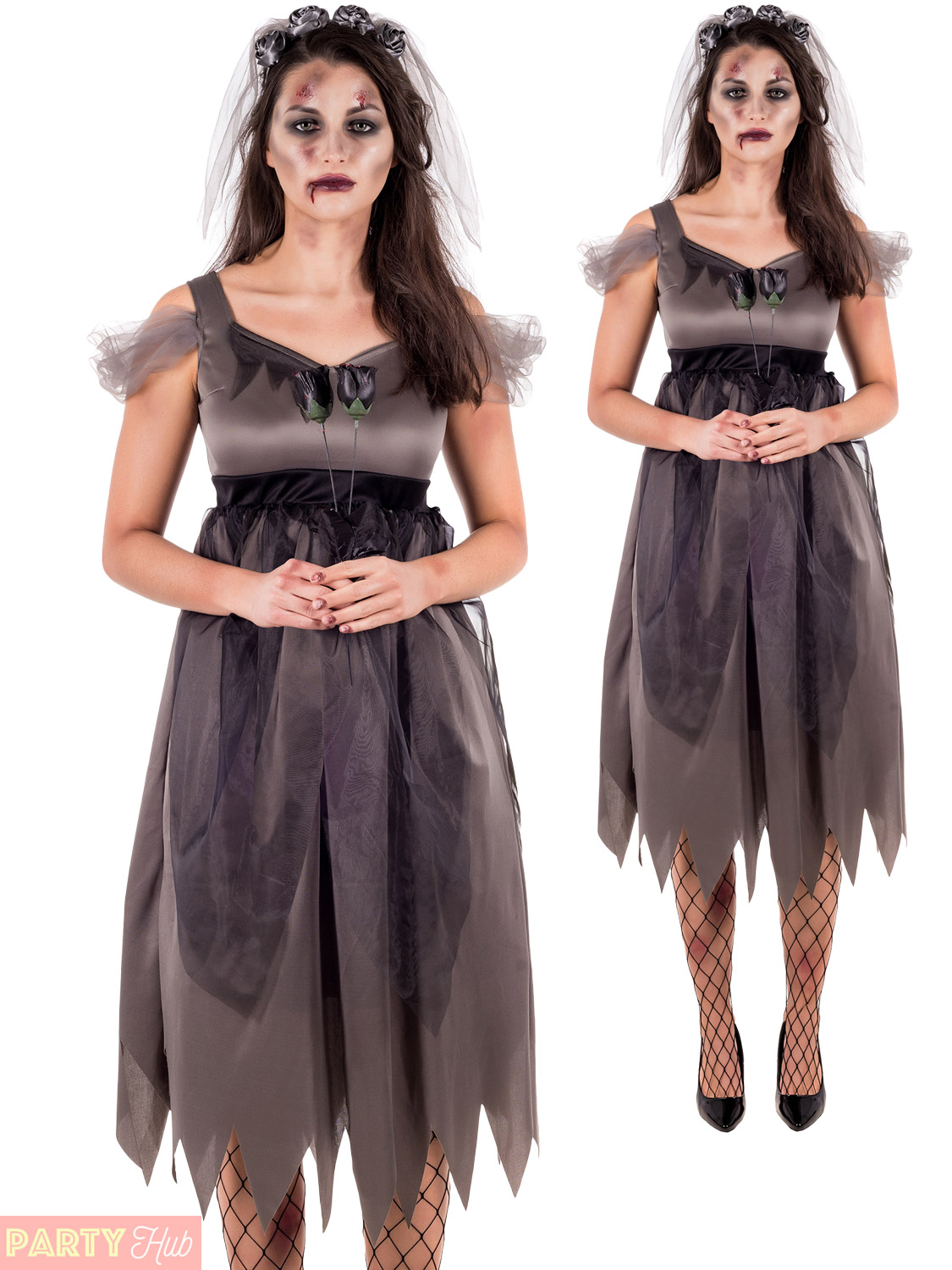 78458f814d2 Details about Ladies Deathly Bride Costume Adults Halloween Fancy Dress  Womens Ghost Outfit