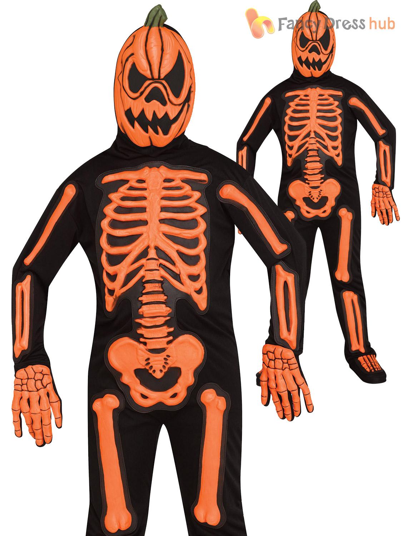 Boys Skeleton Pumpkin Jumpsuit Mask Costume Kids Toddler Halloween Fancy Dress Ebay