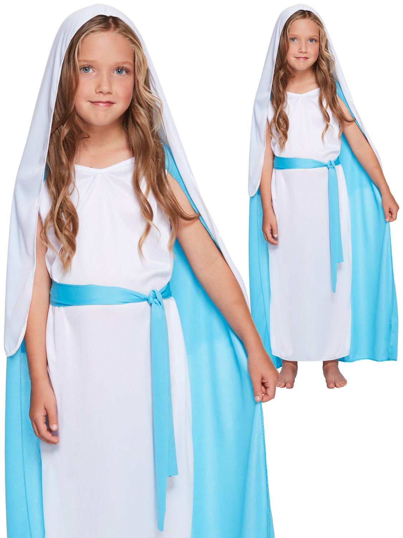 VIRGIN MARY FANCY DRESS GIRLS CHILDS CHILDRENS COSTUME NATIVITY SCHOOL PLAY