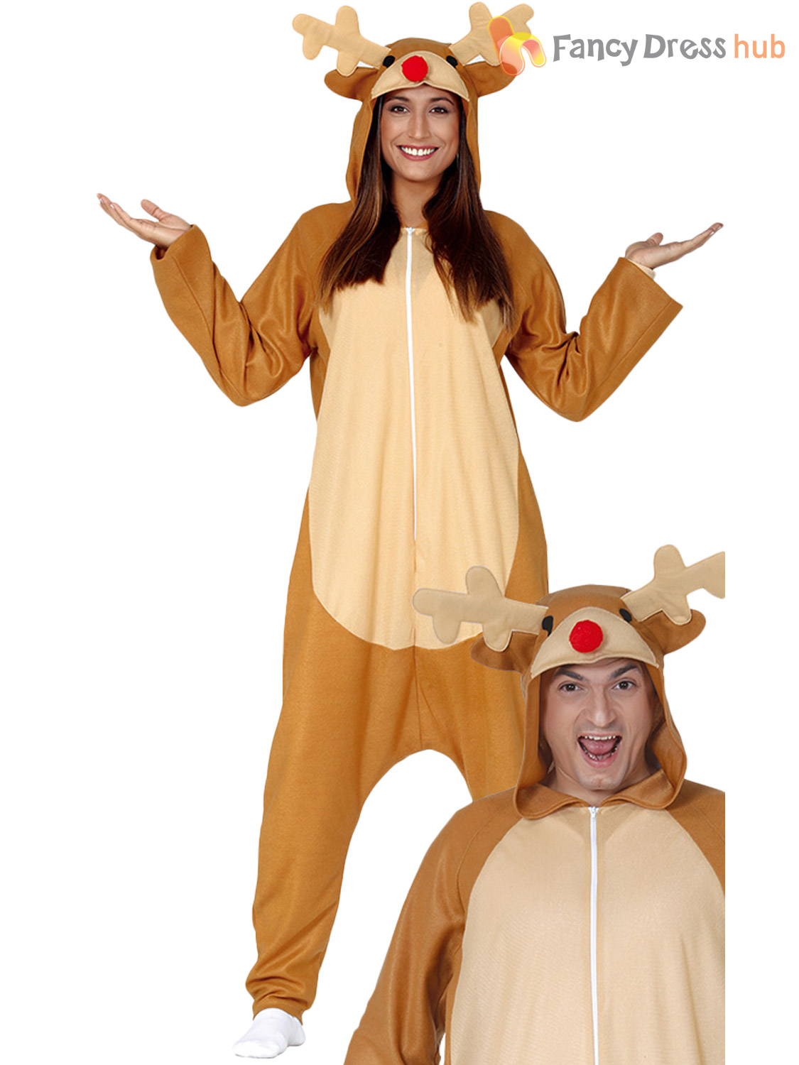 Adults-Reindeer-Jumpsuit-Mens-Ladies-Rudolf-Fancy-Dress-Costume-Christmas-One thumbnail 3