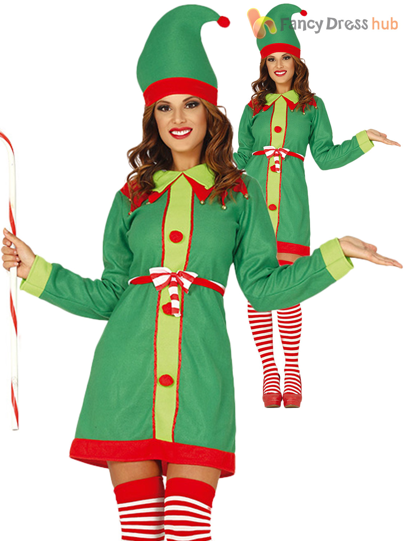 ADULT ELF COSTUME CHRISTMAS FANCY DRESS SANTAS HELPER CHOOSE STYLE LADIES MENS