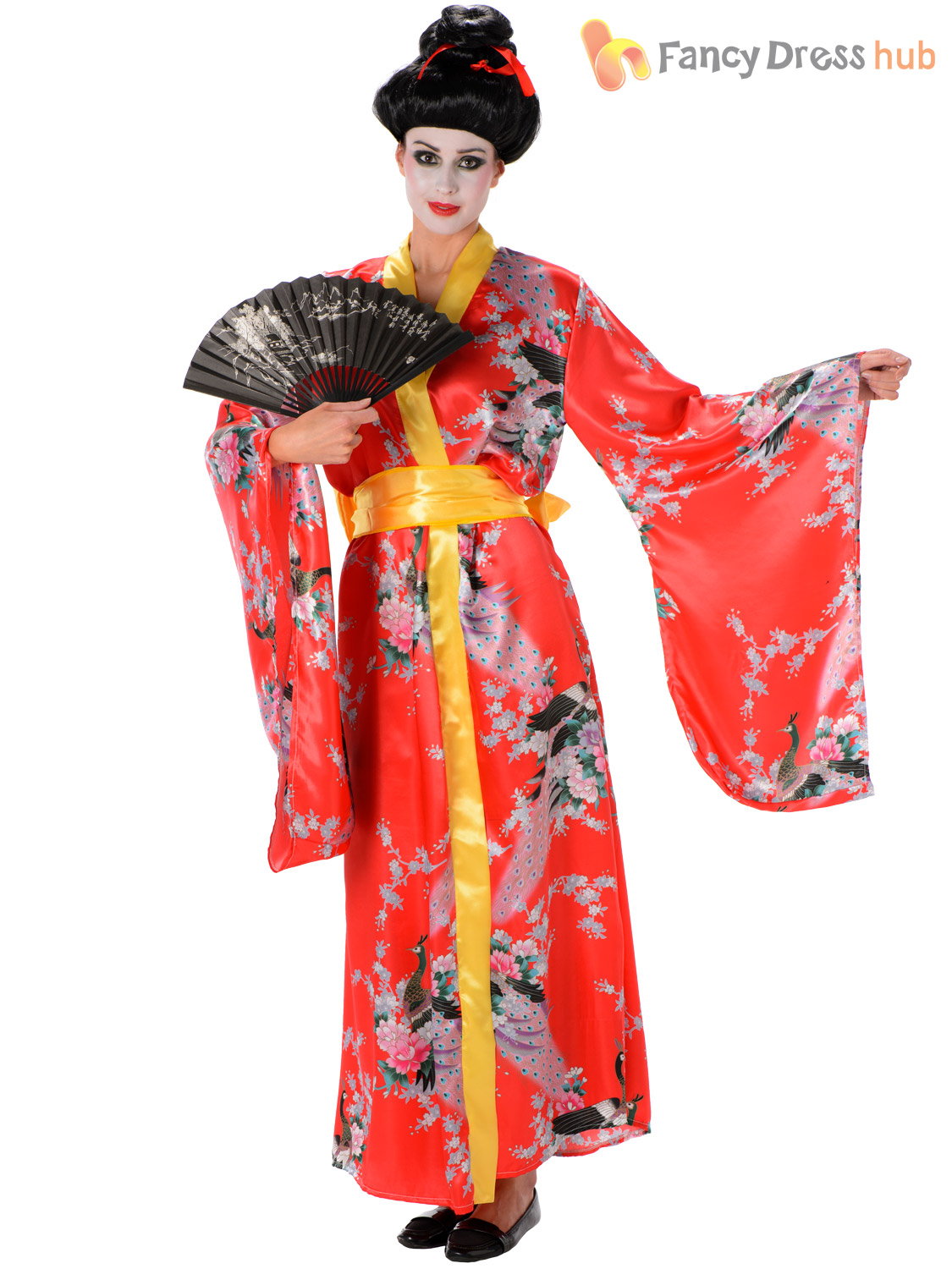 aaa9c8f1655 Ladies Geisha Girl Costume Adults Japanese Kimono Oriental Fancy ...