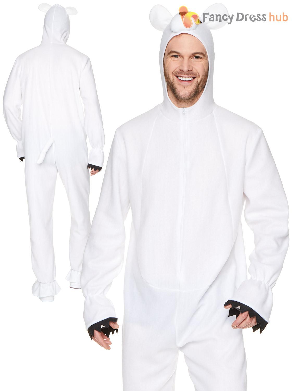 Mens-Polar-Bear-Costume-Adults-Animal-Winter-Christmas-Fancy-Dress-Outfit-Zoo thumbnail 3