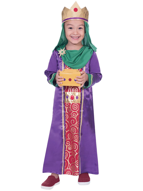 Purple Wise Man Boys Fancy Dress Christmas Nativity Play Kids Childrens Costume