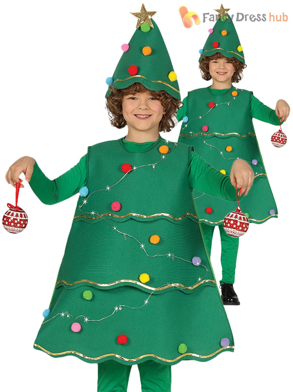 Kids Light Up Christmas Tree Costume Boys Girls Xmas Fancy Dress